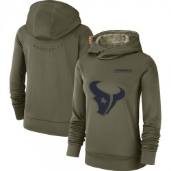 Nike Houston Texans Women's Olive 2018 Salute to Service Team Logo Performance Pullover Hoodie